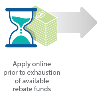 Apply online prior to exhaustion of available rebate funds